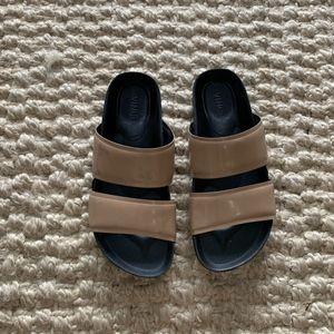 Vince Beige Double Strap Slides Sandals Flip Flops